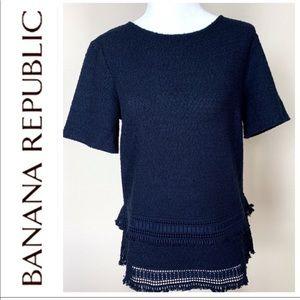 w/TAGs BANANA REPUBLIC Short Sleeves Boucle TOP